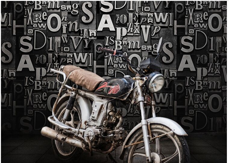 3D Wall Stickers Modern Vintage English Letters Paper Wallpaper For Living Room Cafe Bedroom