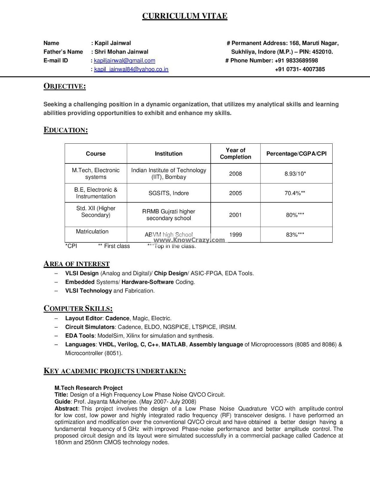 Classy Official Resume format India On 100 [ Good Resume