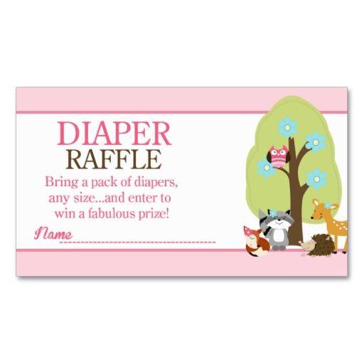 Girl Woodland Animals Baby Shower Diaper Raffle Enclosure Card - Animal baby shower invitations templates