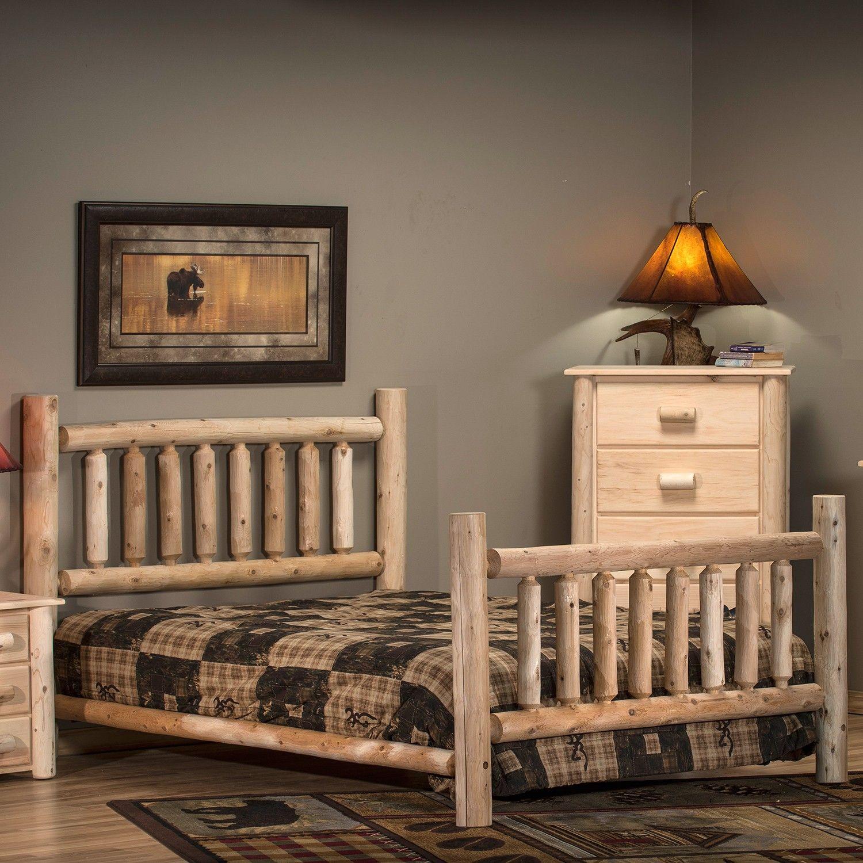 Lakeland Cedar Log Bed Panel bed, Log bed, Bed lights