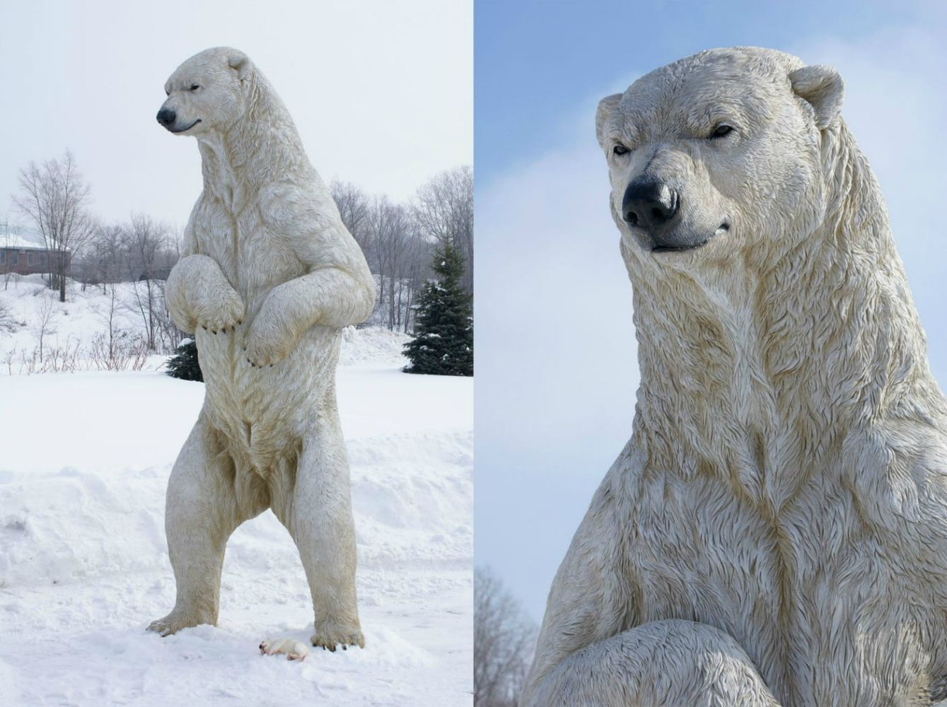 realistic sculpted standing polar bear for the san diego