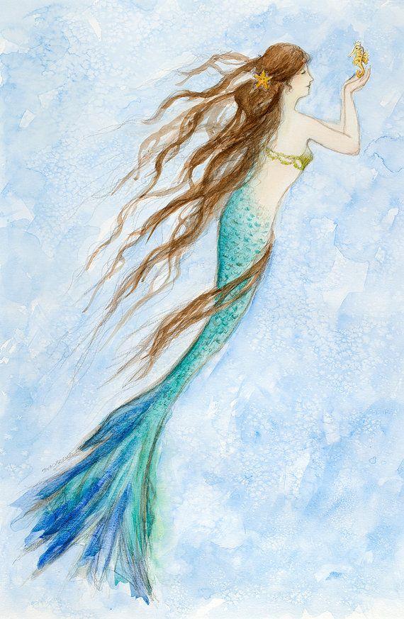 Mermaid Painting Original Watercolor Mermaid By Tinaobrienfineart Mermaid Painting Mermaid Illustration Watercolor Mermaid