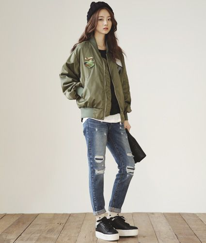 White Sleeved Baseball Bomber Jacket | Korean fashion | Pinterest ...