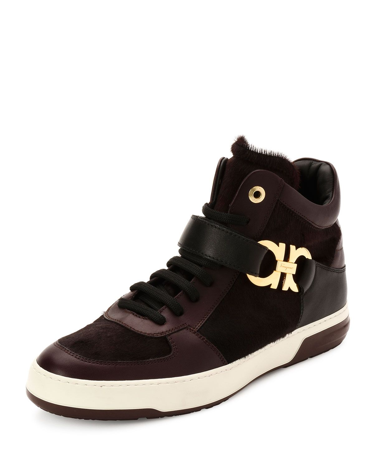 Salvatore Ferragamo Nayon 3 Calf Hair High-Top Sneaker, Wine (Red), Men s,  Size  43EU 9EE 2a1b91e8ad