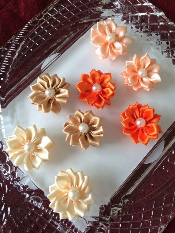Set of 8 satin flower appliquesribbon flower by MCsupplies on Etsy