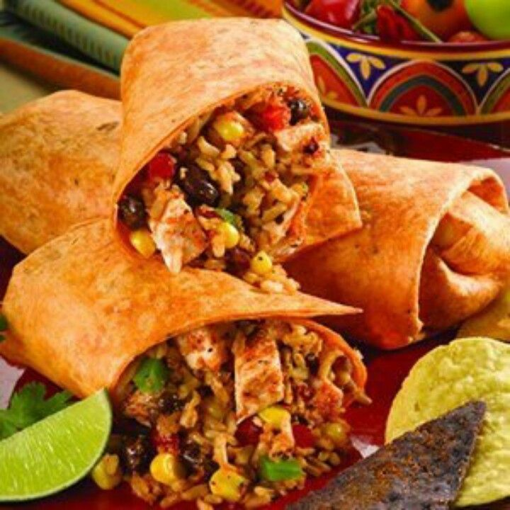 Southwestern chicken and rice wraps