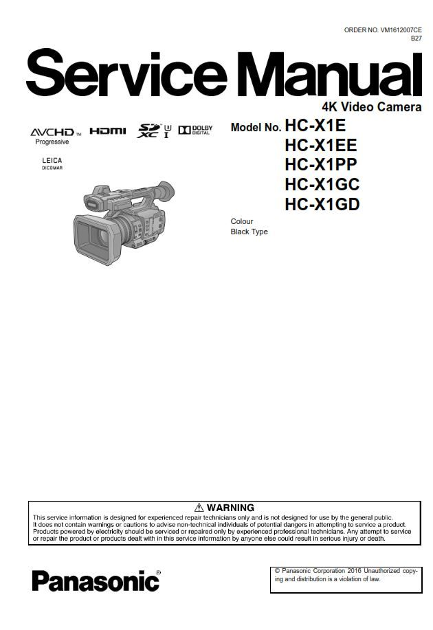 Panasonic HC X1 HD PRO Camcorder Service Manual