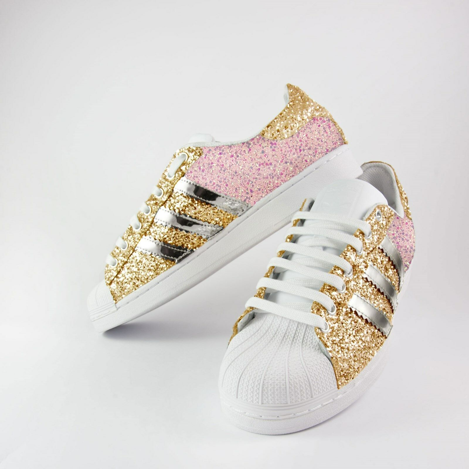 Zapatos Adidas Superstar con Purpurina Rosa + Oro Brillo Piu