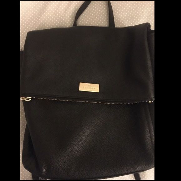 5a3b9df0b Kate Spade Black Leather Backpack LIKE NEW Kate spade black leather backpack,  pink interior, gold clasps, adjustable straps with gold buckles. kate spade  ...
