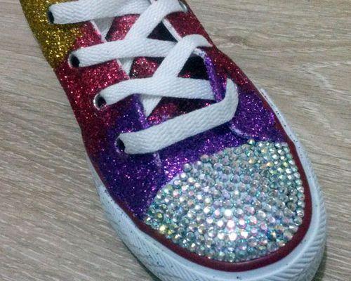 shoes Swarovski Crystal Rainbow Glitter
