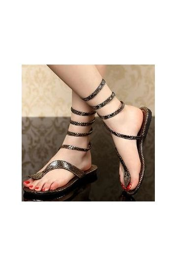 ca3c834bba5 Sexy Rhinestone Snake Shape Strap Thong Flat Gladiator Sandals -  Shoespie.com
