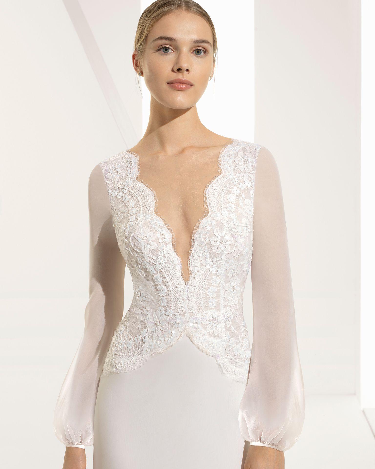 Long sleeve chiffon wedding dress  Ballgownstyle beaded lace and silk chiffon wedding dress with long