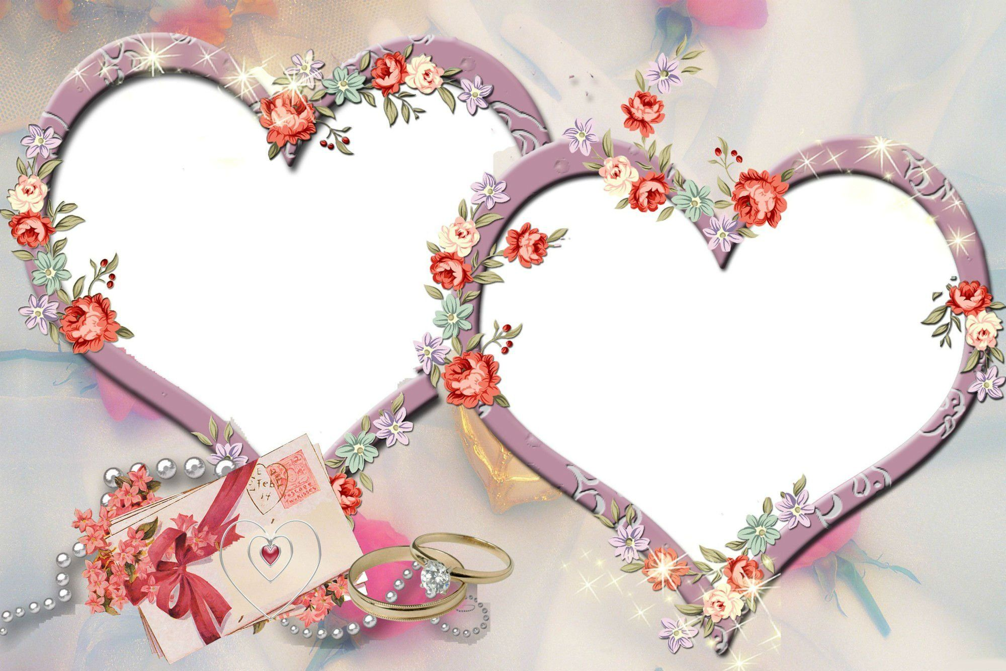 Рамки для фото два сердечка