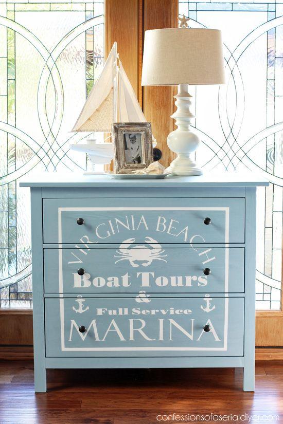 Jack S 30 Thrift Store Dresser Makeover Nautical Furniture Beach House Decor Coastal Decorating