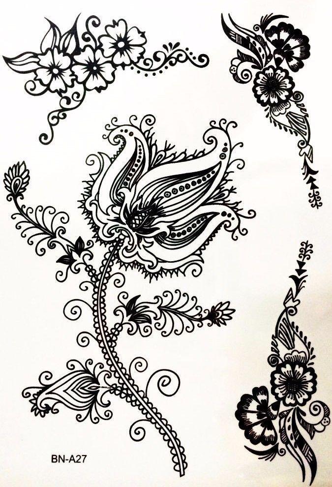 Black Henna Tattoo Uk: Flower Rose Black Henna Lace Flowers Temporary
