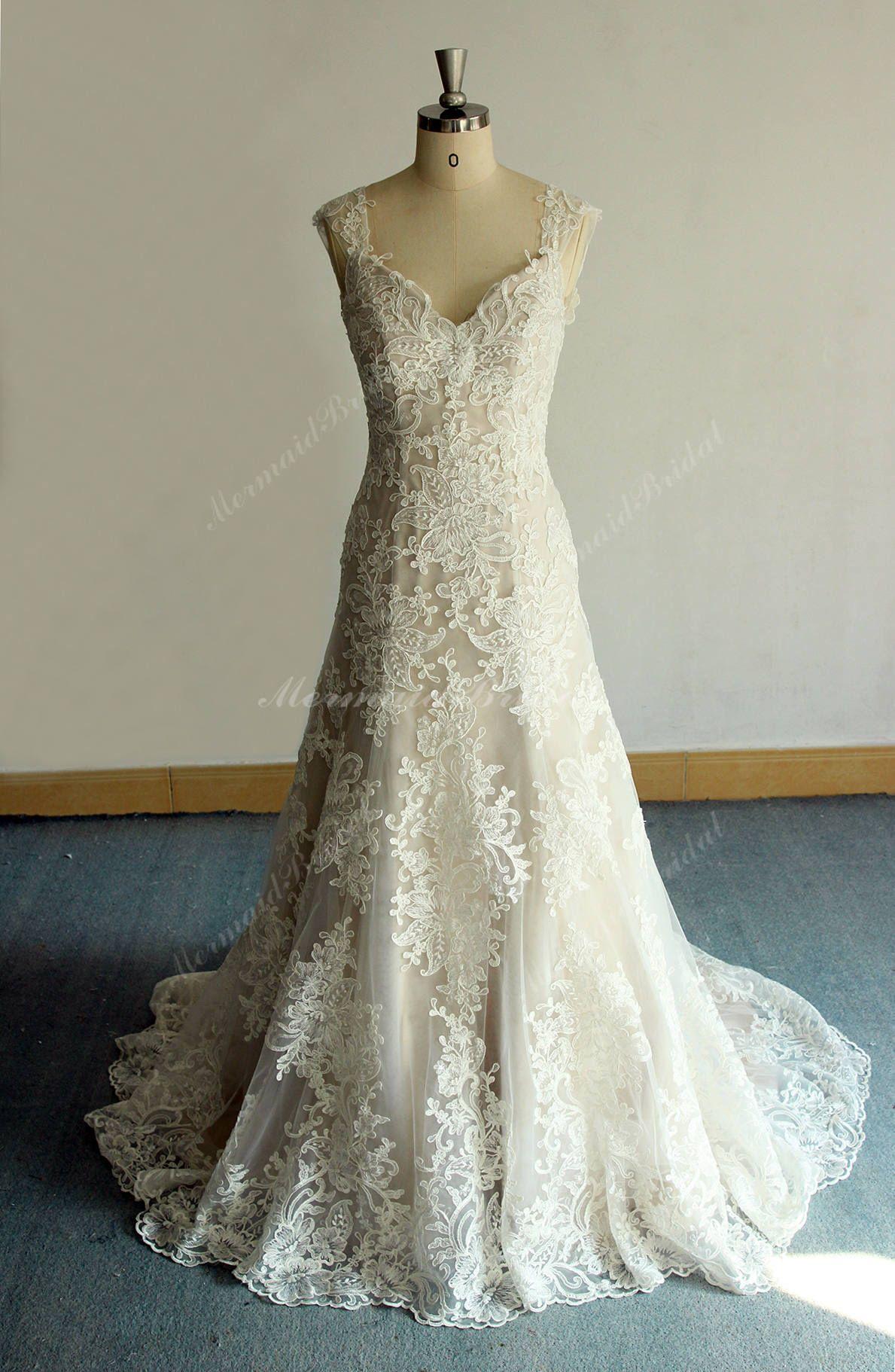 Vintage Trumpet Wedding Dress , French Lace Wedding Dress