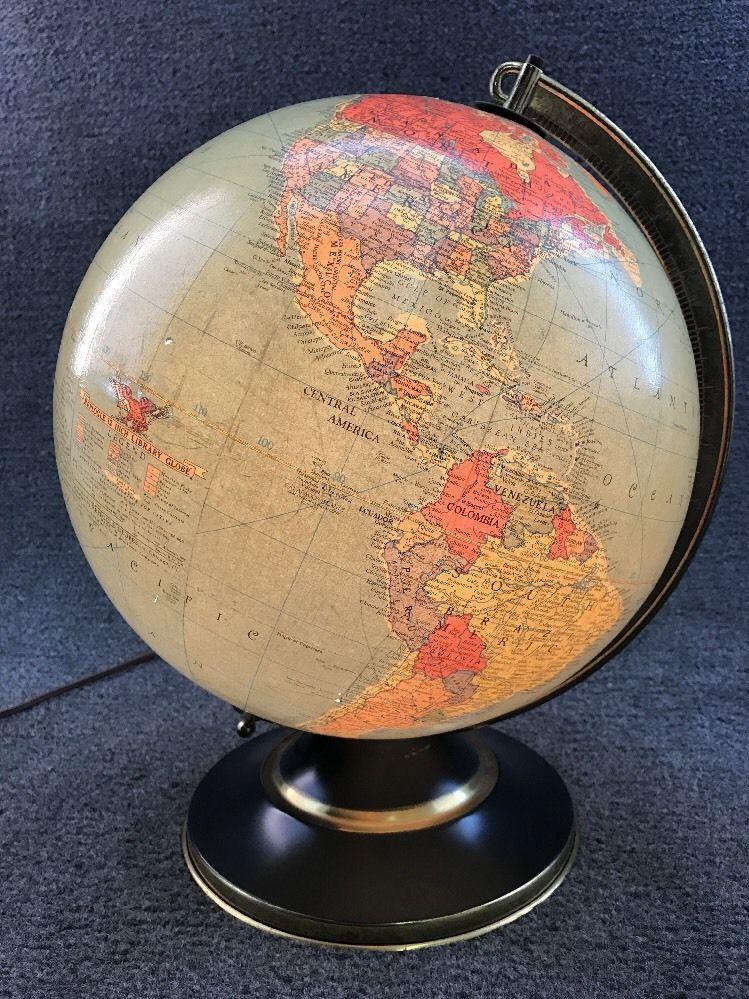 Mid century replogle 12 glass post 1950s political map globe lamp light gumiabroncs Gallery