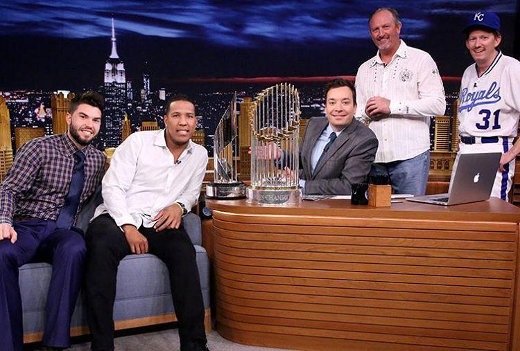 「 @hosmer305, @salvadorp13invade @fallontonightat 11:35ET. They brought a friend - the #WorldSeries trophy. (Photo: Doug Gorenstein/NBC) 」