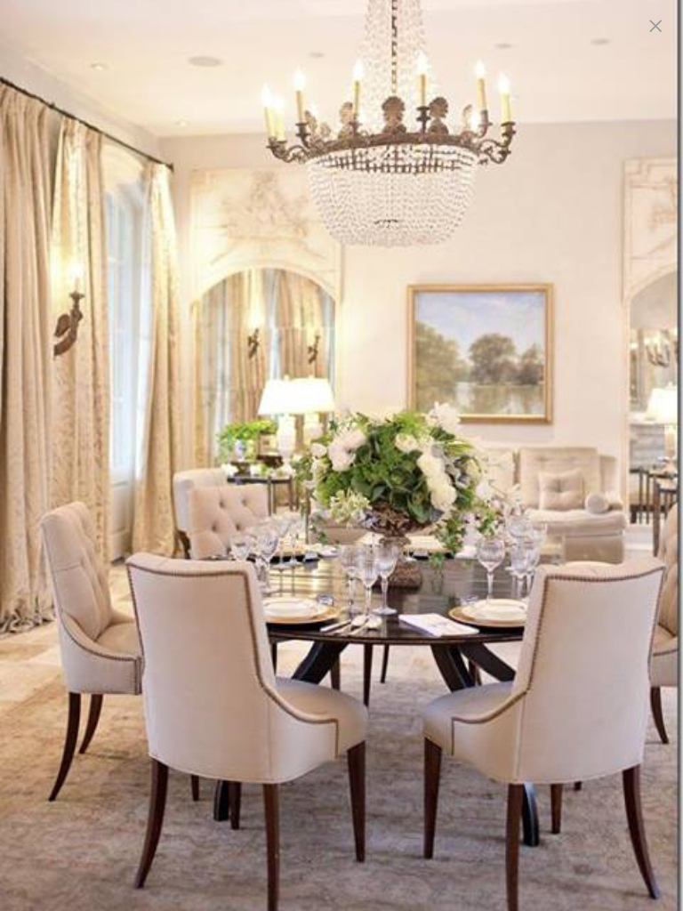 The Greenery U0026 Lovely Painting Provide A Touch Of Color To This Very Pale  Room. The Furniture, Chandelier U0026 Detailing All Contribute To Making This A  ... Amazing Design