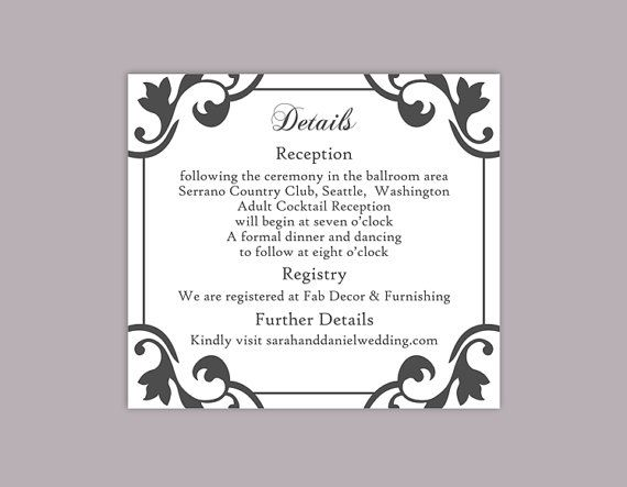 DIY Wedding Details Card Template Editable Download Printable - wedding card template