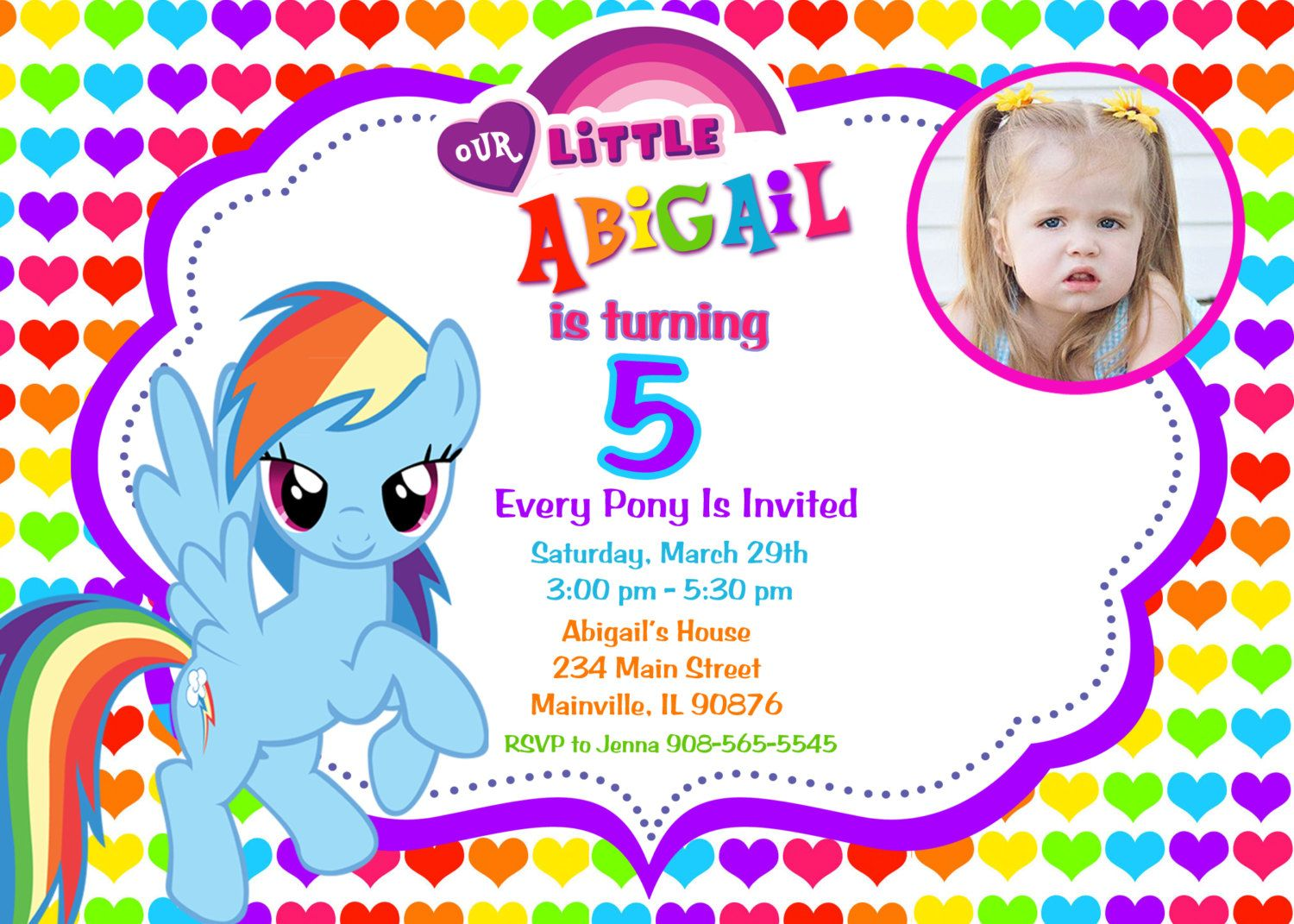 Rainbow Design My Little Pony Birthday Party Invitation Custom Photo