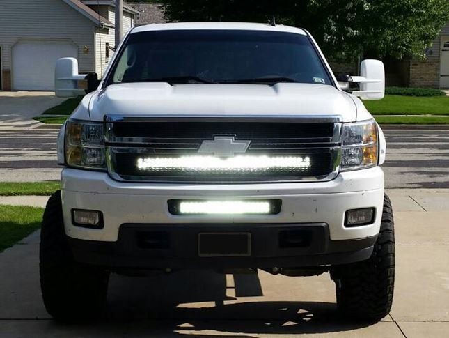 40 Inch Led Light Bar And Behind The Grille Bracket For 2007 2013 Chevrolet Silverado H Chevy Silverado Accessories Custom Chevy Trucks Chevy Silverado 2500 Hd