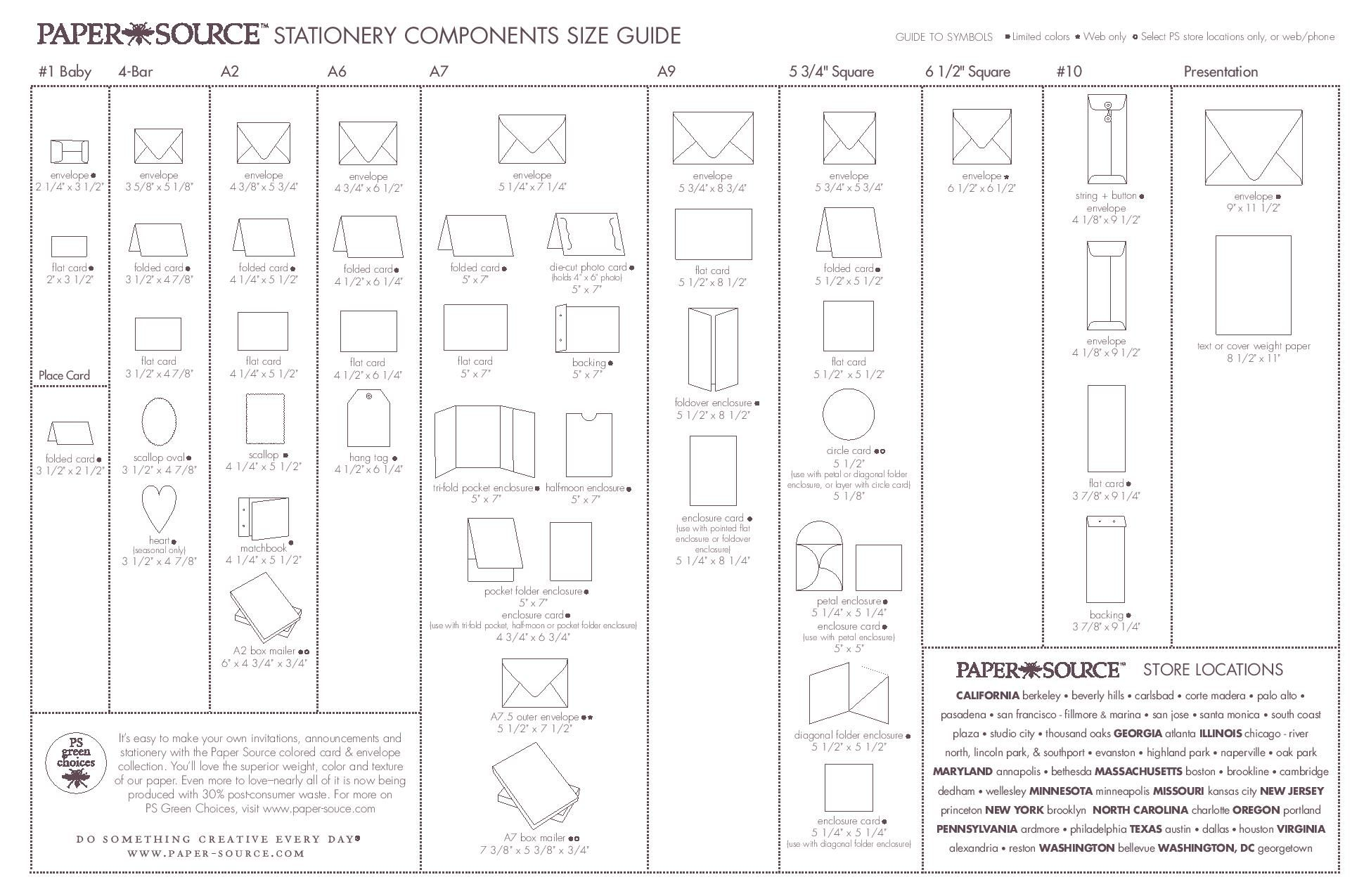 envelope size chart  good for figure out what kind of envelope for invitations