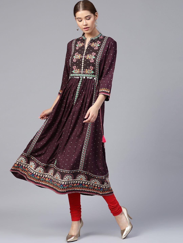 f5d80f5f9db Buy W Women Purple & Golden Printed A Line Kurta - - Apparel for Women