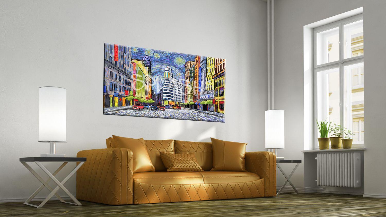 Cuadros modernos decorativos de madrid gran v a callao homenaje a van gogh colores cuadros - Cuadros para encima del sofa ...