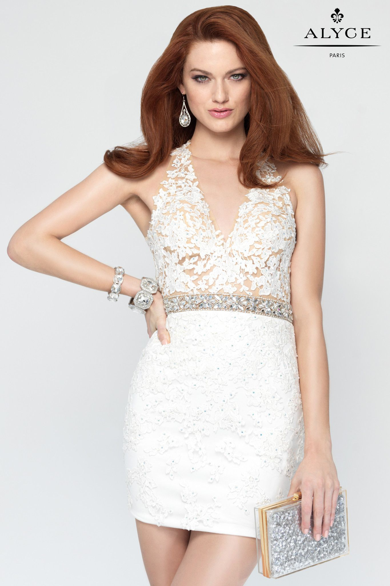 Alyce 4442- Ivory Halter Fitted Dress | Party Dresses | Pinterest ...