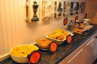 Halloween Party Chili Bar with signs made with the silhouette cameo from my dirty aprons blog. #chilibar Halloween Party Chili Bar with signs made with the silhouette cameo from my dirty aprons blog. #chilibar