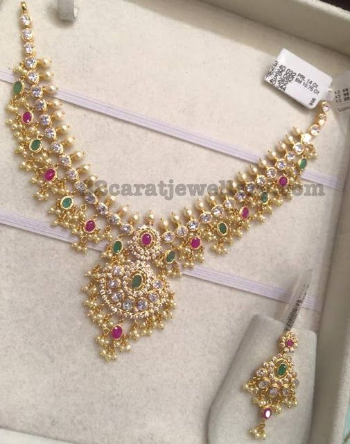 ff2ef9efe3f 35 Grams CZ Necklace. Latest Collection of best Indian Jewellery Designs.