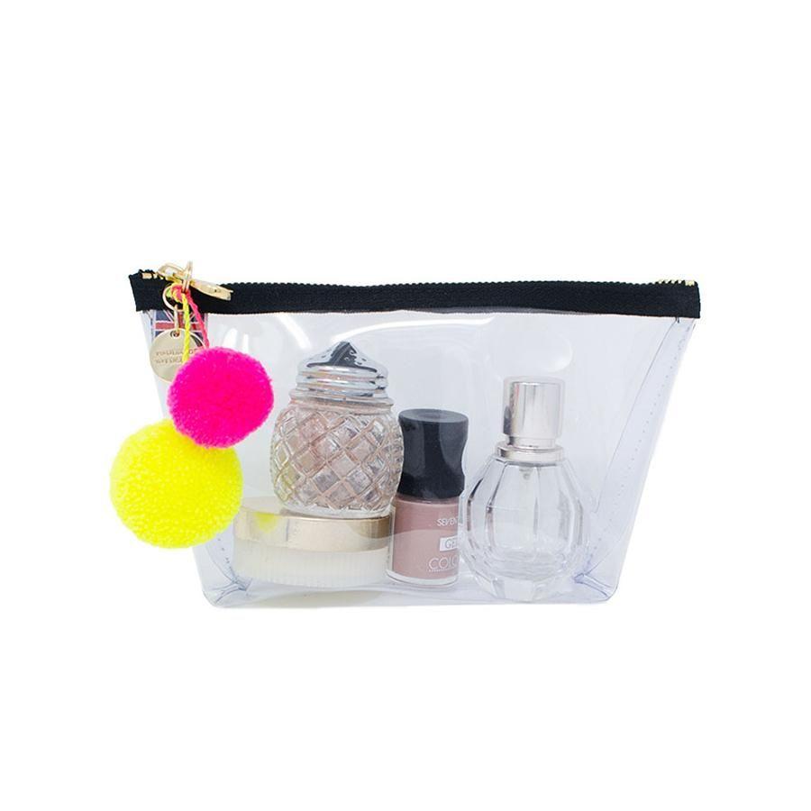 Alicia Kleine durchsichtige Make-up-Tasche – Neongelb