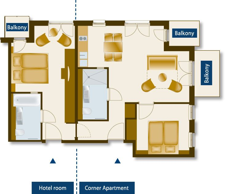 Apartment Room Plan http://www.hotel-nymphe.de/eng/hotel/hotel_rooms