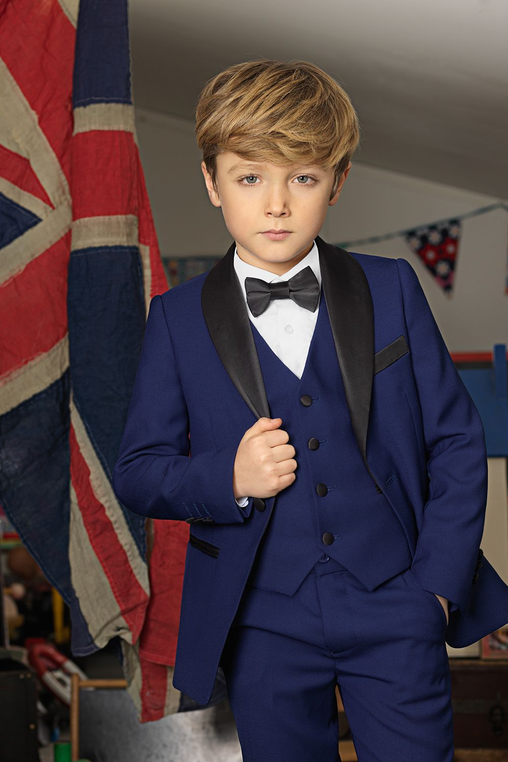 Kids Tailored Fit Wedding Suits 6 Piece Page Boys Prom Charcoal Grey Navy Blue