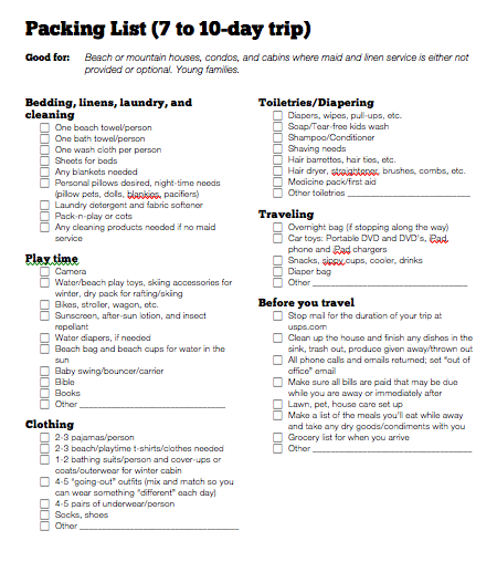 Printable Beach Vacation Packing List Summer Trip To The