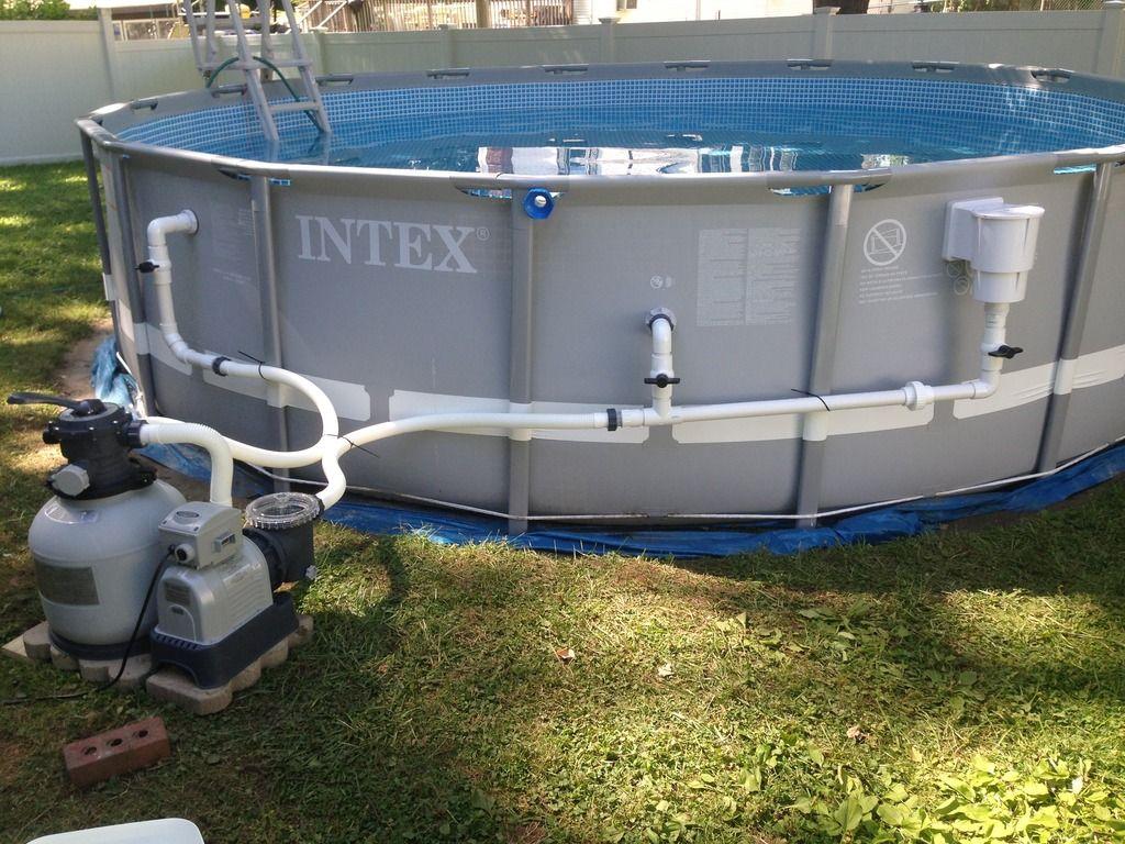 adding a hayward skimmer to this intex ultra frame ag pool clean plumbing job diy pool. Black Bedroom Furniture Sets. Home Design Ideas
