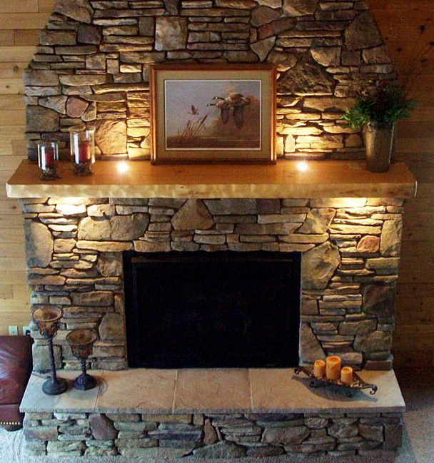 Stone fireplace mantel and Faux stone