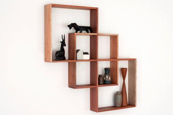 Corner Shelf Display Cabinet Book Vintage Mid-century Unit