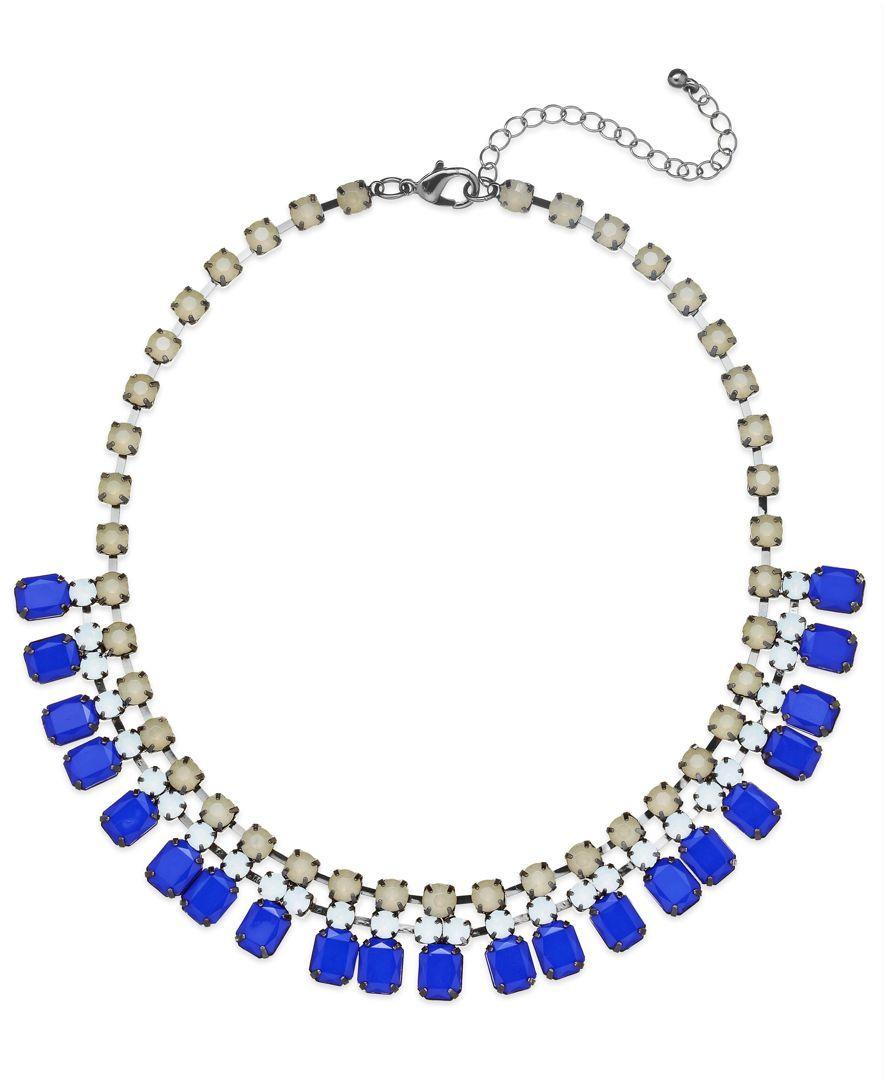 Bar iii hematitetone blue and gray stone frontal necklace