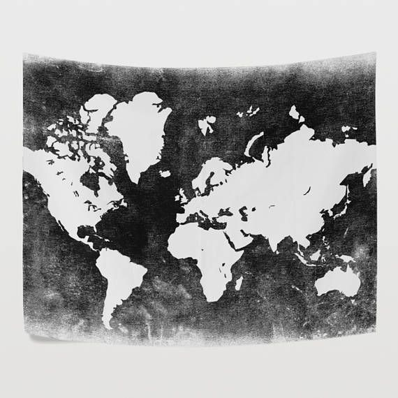 Balck and white world map tapestry wall hanging gray global map balck and white world map tapestry wall hanging gray global map wall decor art for bedroom gumiabroncs Images