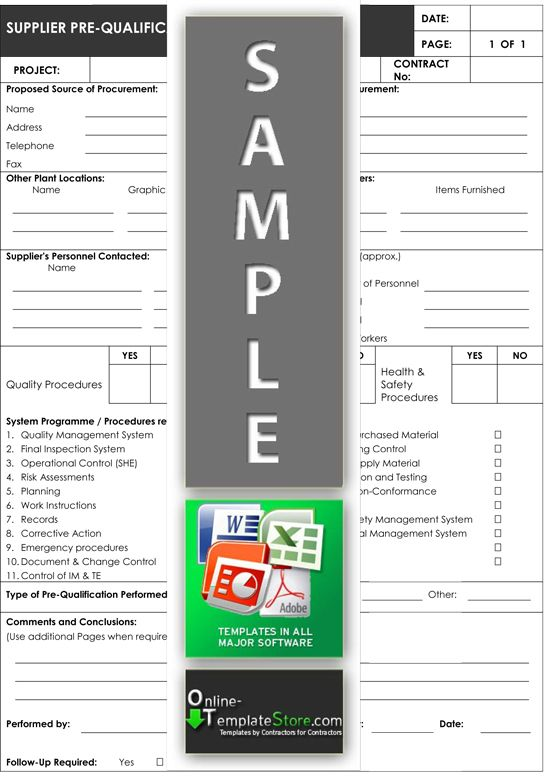 Supplier Pre Qualification From Project Management Templates
