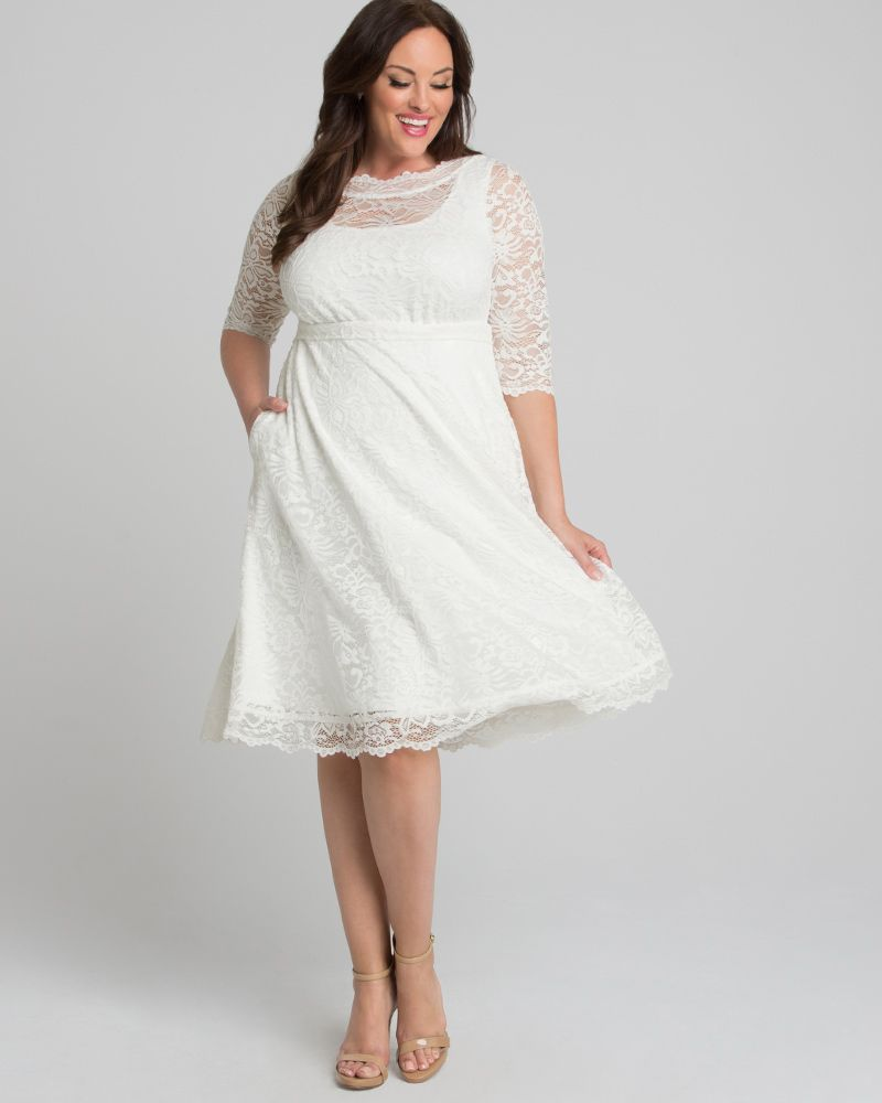Kiyonna Womens Plus Size Pretty In Lace Wedding Dress In 2021 Wedding Dress Long Sleeve Short Wedding Dress Casual Wedding Dress [ 1000 x 800 Pixel ]