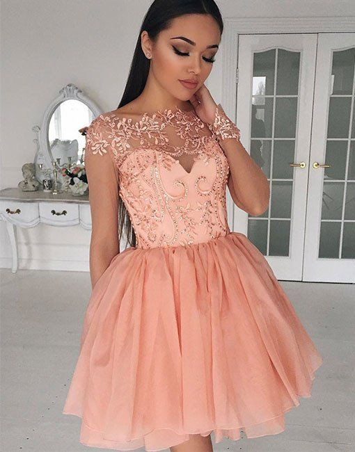 8373be90e900 Cute tulle lace applique short prom dress