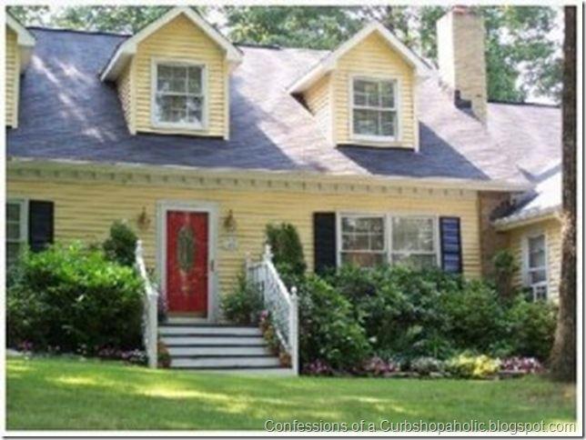 Cottage doors exterior yellow house white trim google - Cottage paint colors exterior set ...