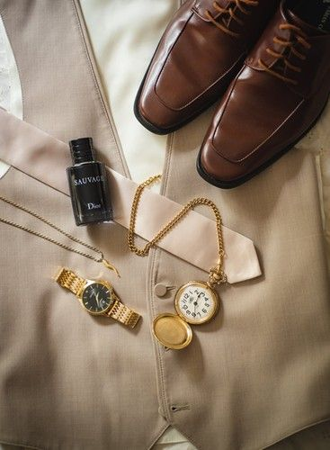 Groom's Details & Accessories Flat Lay Wedding Photography