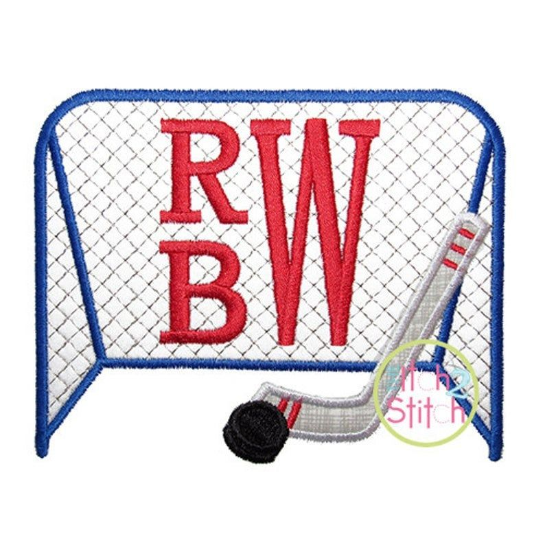 Monogrammed Hockey Goal With Hockey Stick And Puck Applique Shirt By Mybirthdayshirtshop On Etsy With Images Applique Designs Hockey Goal Embroidery Monogram Fonts