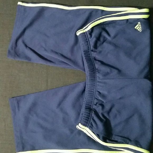 Adidas Navy and Green Capris 100% Polyester Good used condition. Pockets on  either side