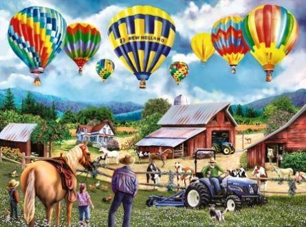 Balloon Venture - Balloon, Aviation, Painting, Flight, Art, Artwork, Landscape, Wide Screen, Equine, Farm