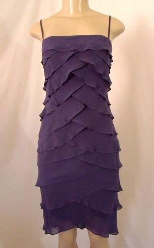 HURRY, ENDING SOON! Tadashi 4 Dress Purple Silk Petal Tiered Ruffle Spaghetti Strap Knee Length | eBay $99.99